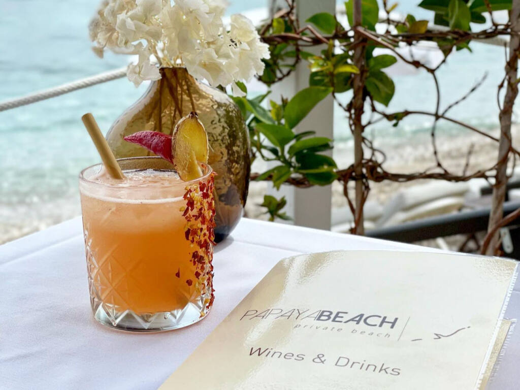 Papaya Beach club à Eze (menu)