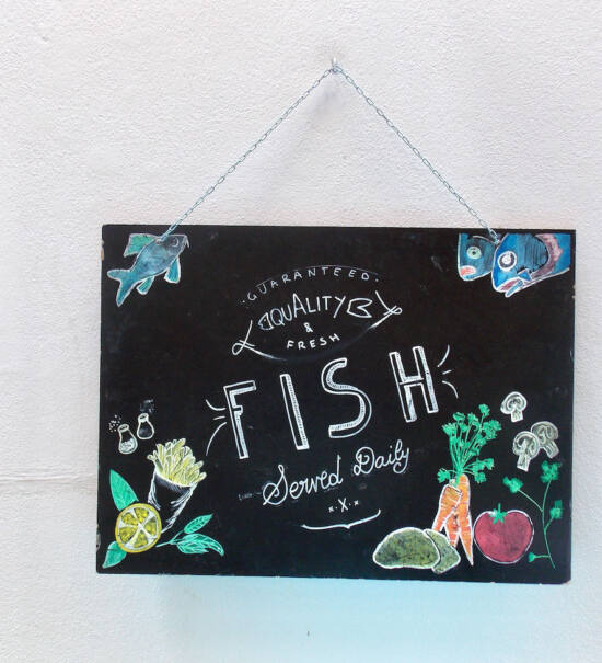 The Fat Mermaid, fish and chips (panneau)